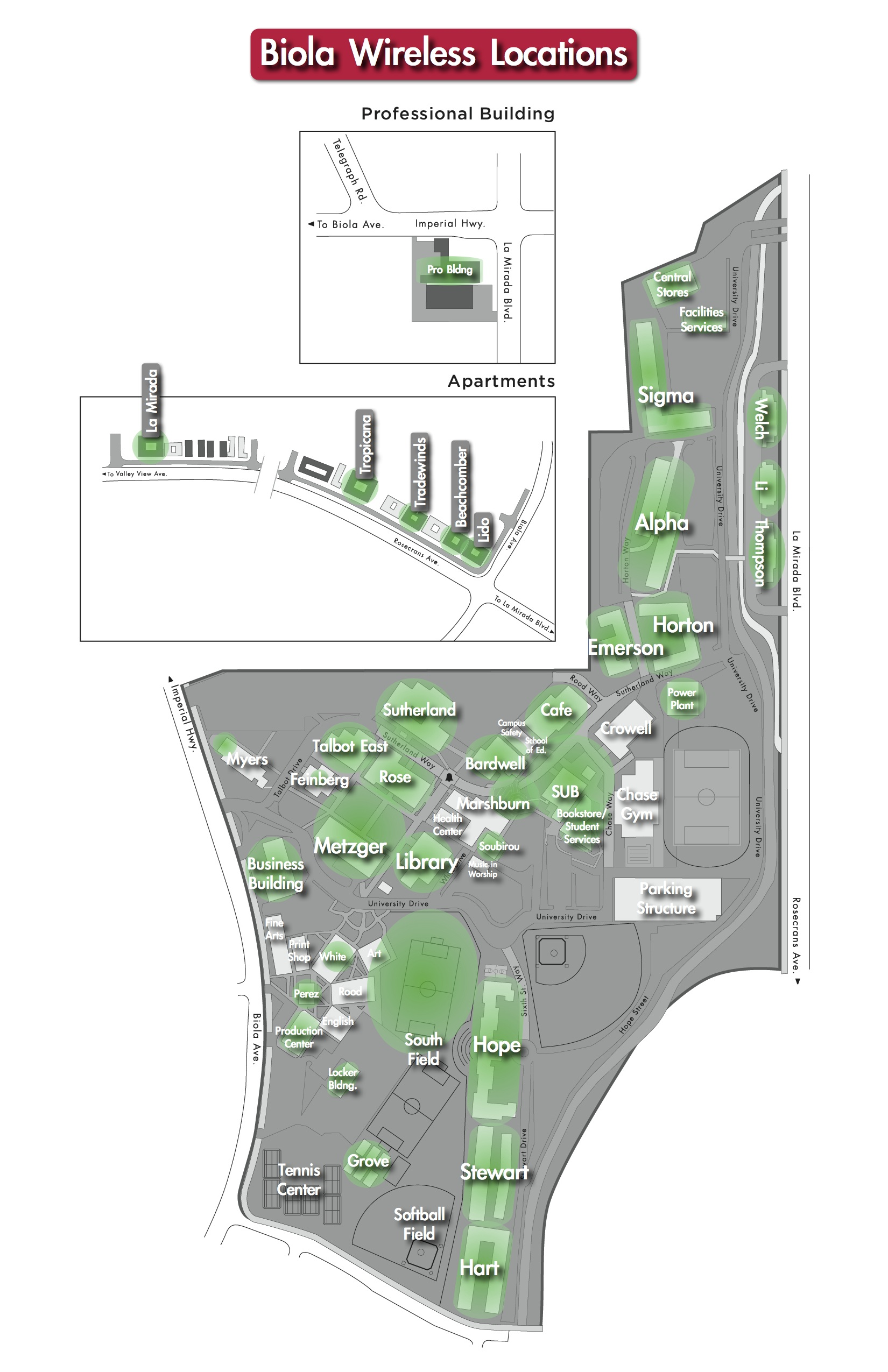 Biola campus map of wireless locations