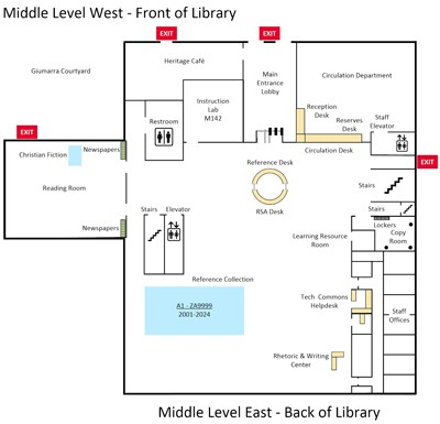 Thumnail of floor plan for middle level of Biola's library; click to enlarge