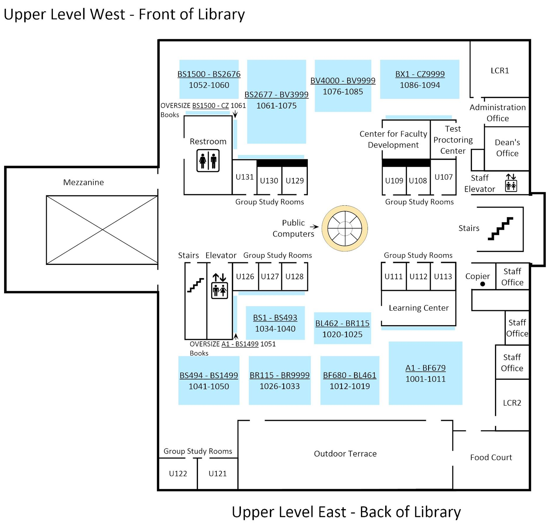 Full size floor plan for upper level of Biola's library