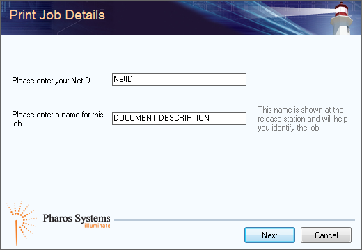 "Enter your NetID and a description for the document in the window that appears and click ""Okay."""