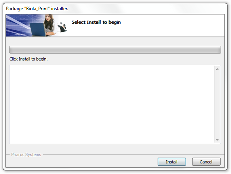 """To install the Biola Print & Copy on your computer, select """"Install."""""""