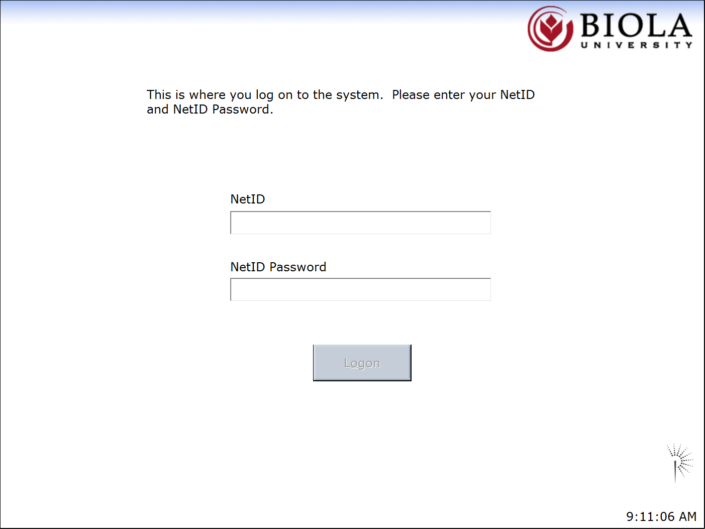 Swipe your BiolaID card or enter your NetID and NetID password to login.