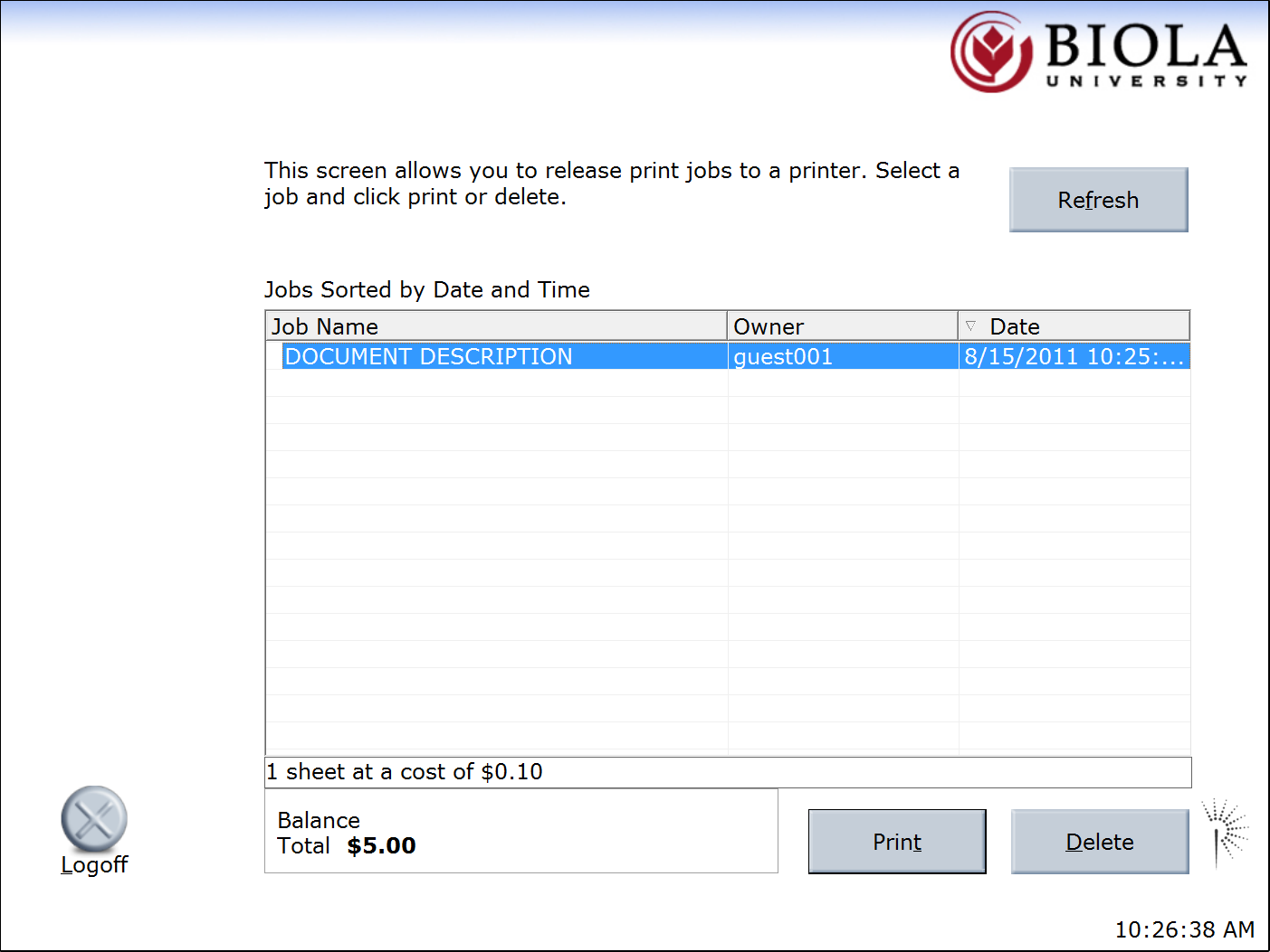"Select the print job you would like to release and click ""Print."""