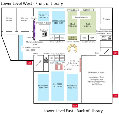 Thumbnail of floor plan for lower level of Biola's library; click to enlarge