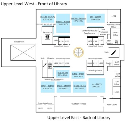 Thumbnail of floor plan for upper level of Biola's library; click to enlarge